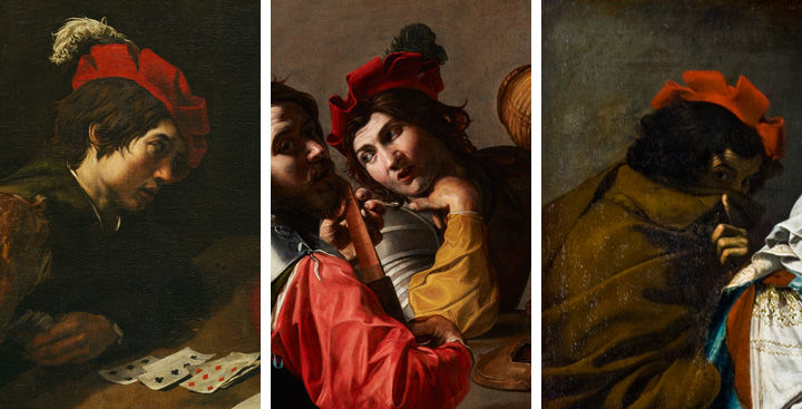 Three Detail Views Of Paintings By Valentin De Boulogne, Showing Figures  Wearing The Same Red
