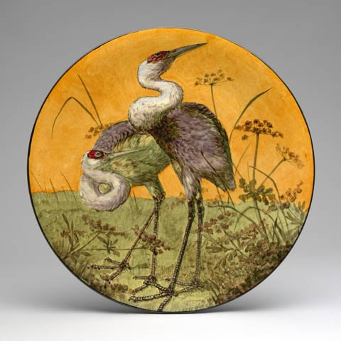 Plate with painted image of two birds
