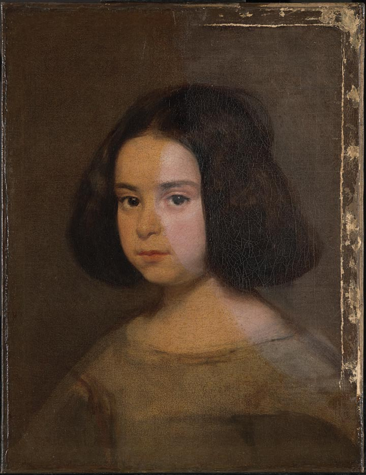 A Velázquez portrait of a young girl, during the process of varnish removal