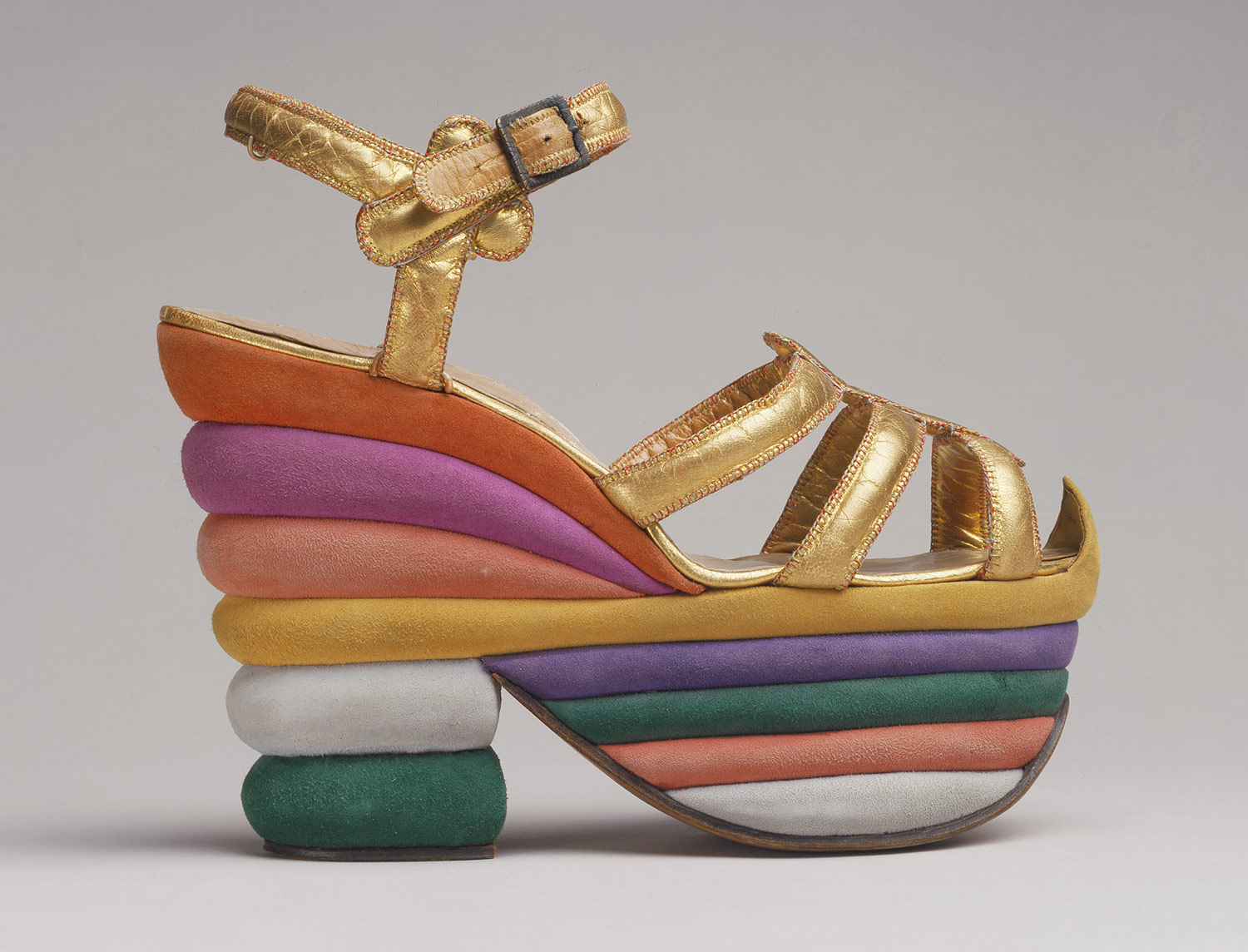 Ankle-strap sandal, 1938 Designed by Salvatore Ferragamo (Italian, 1898–1960) Leather, cork, metal