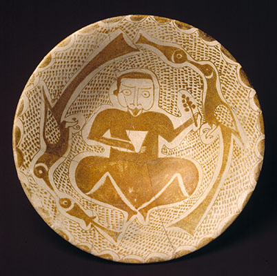 Bowl depicting a Man holding a Cup and a Flowering Branch