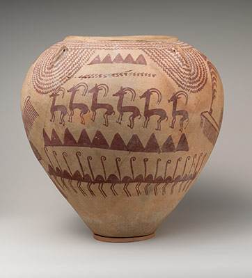 Decorated Ware Jar Depicting Ungulates and Boats with Human Figures