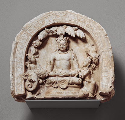 Niche with the Seated Bodhisattva Shakyamuni Flanked by Devotees and an Elephant
