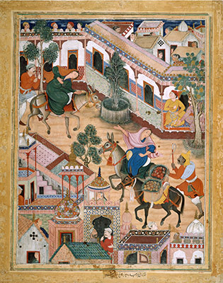The Spy Zambur Brings Mahiya to the City of Tawariq, Folio from a Hamzanama (Book of Hamza)
