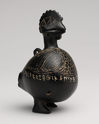 Terracotta vase in the shape of a cockerel