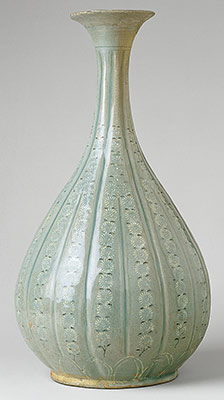 Bottle with decoration of chrysanthemums and lotus petals