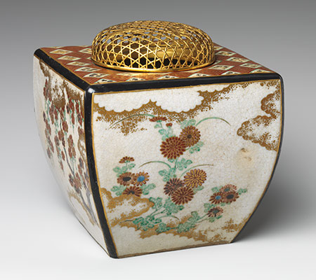 Ninsei-style Incense Burner with Flowers of the Four Seasons