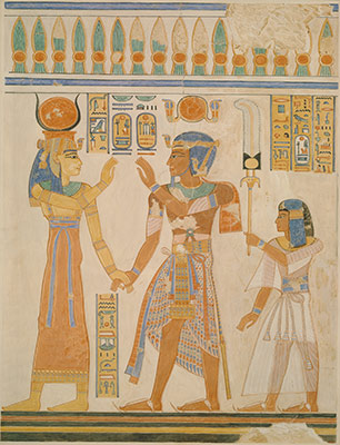 Ramesses III and Prince Amenherkhepeshef before Hathor