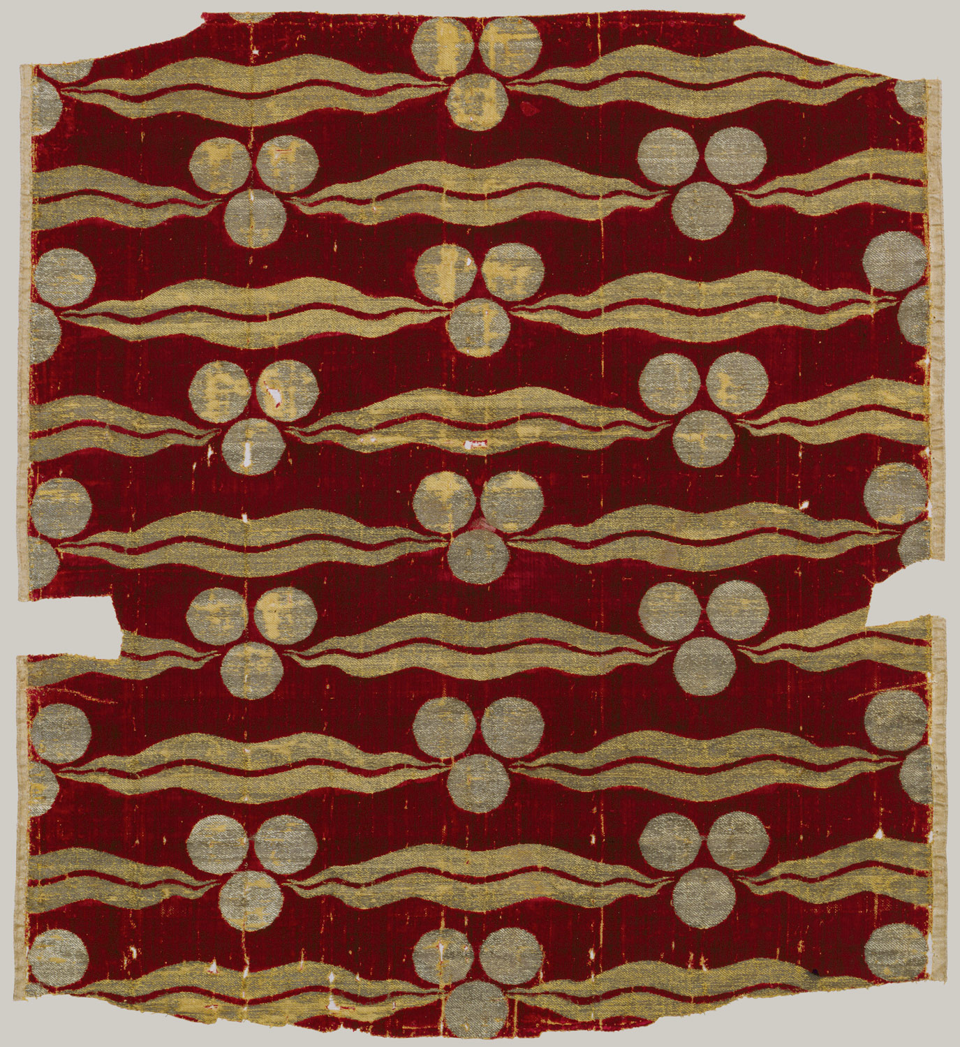 Fragmentary Silk Velvet with Repeating Tiger-stripe and Chintamani Design