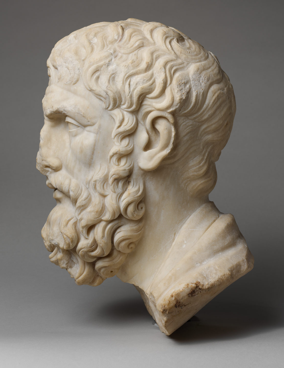 Marble head of Epikouros