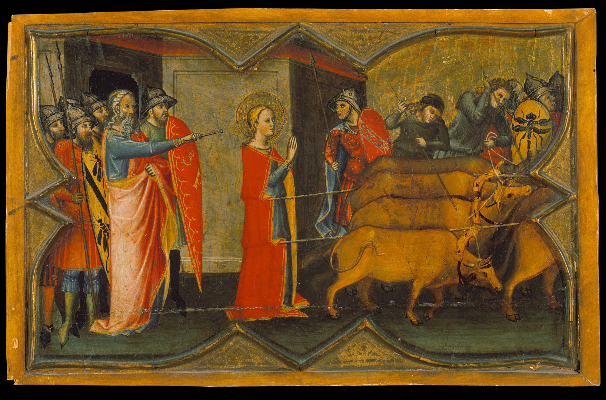 Saint Lucy and Her Mother at the Shrine of Saint Agatha; Saint Lucy Giving Alms; Saint Lucy before Paschasius; Saint Lucy Resisting Efforts to Move Her