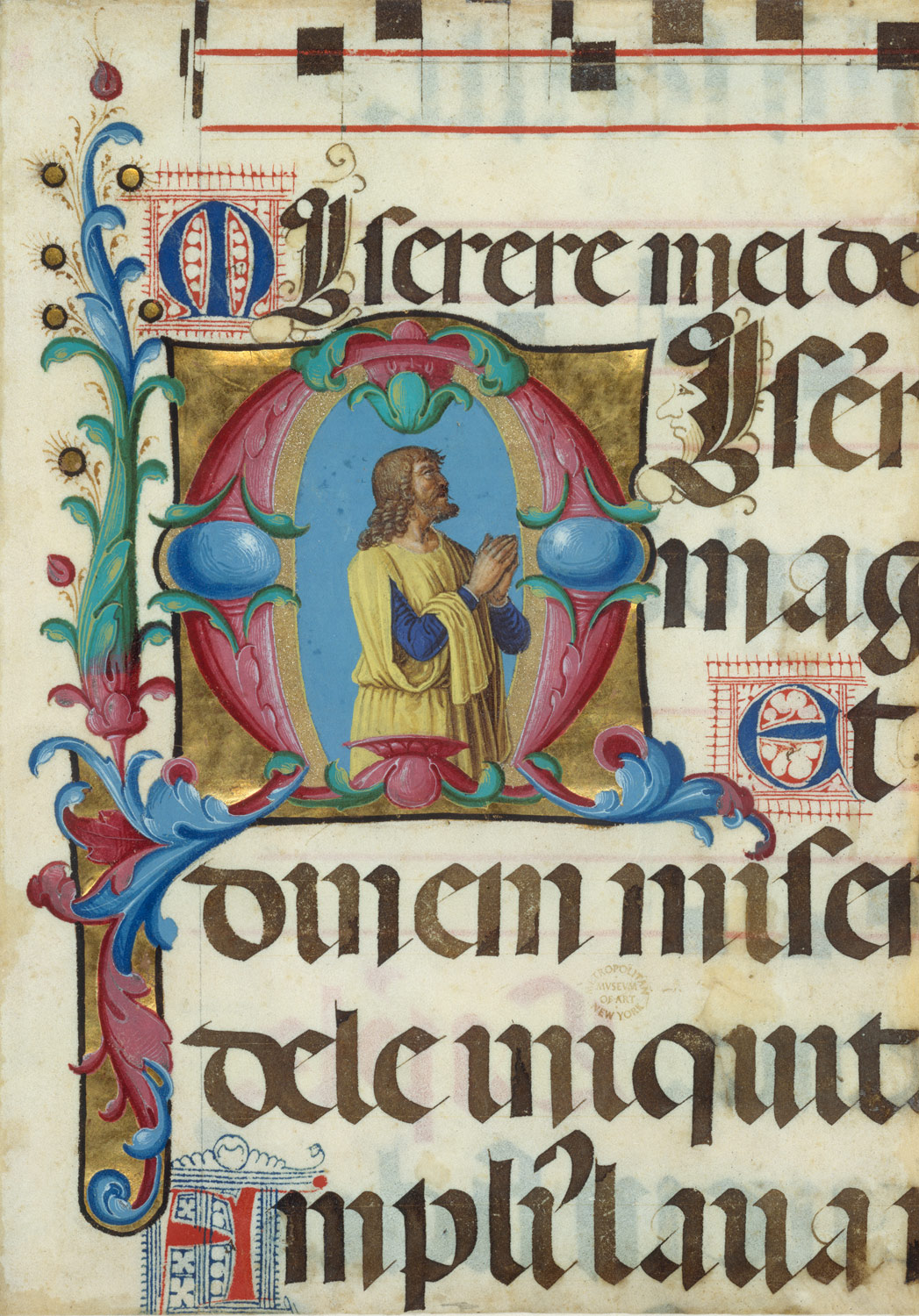 Manuscript Illumination with David in Prayer in an Initial M, from a Psalter