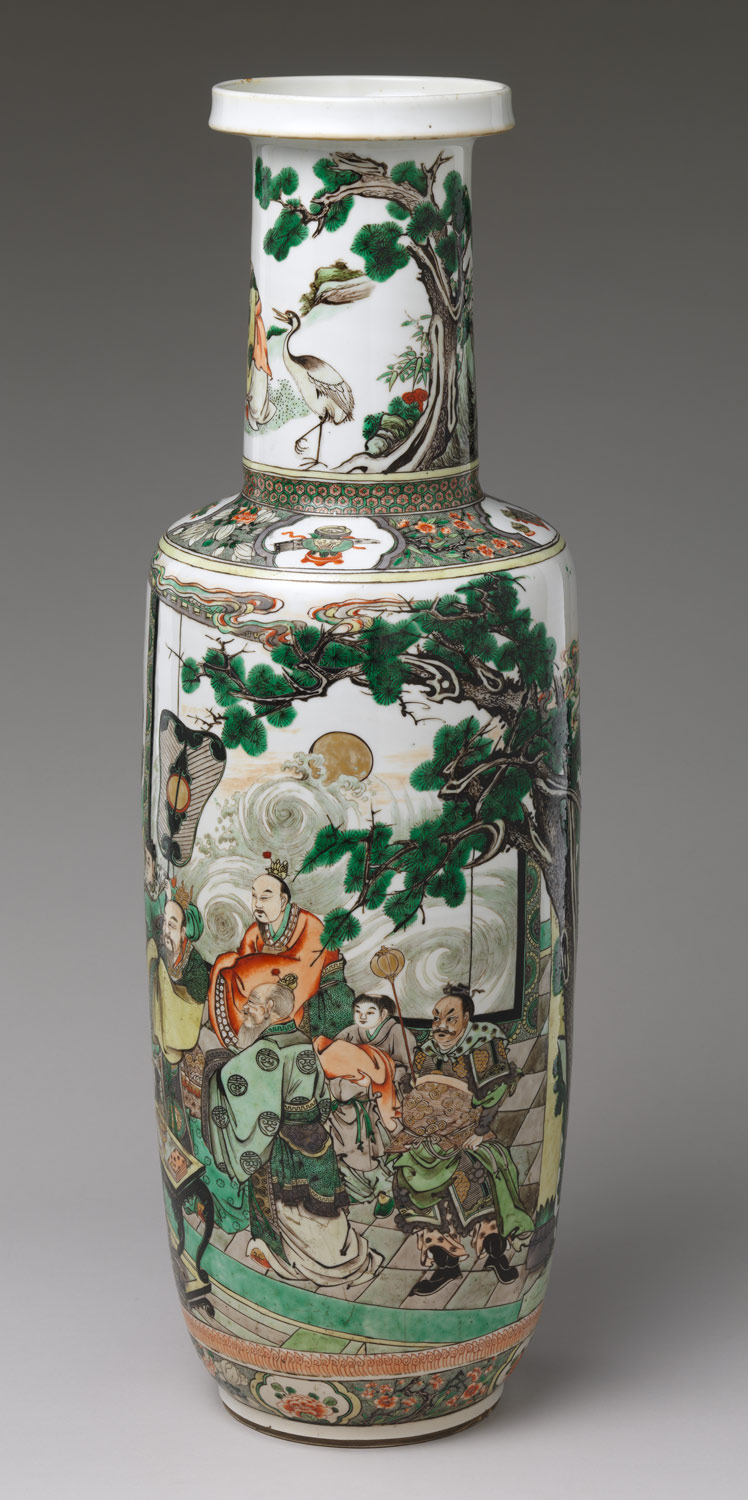 Vase with immortals offering the peaches of longevity