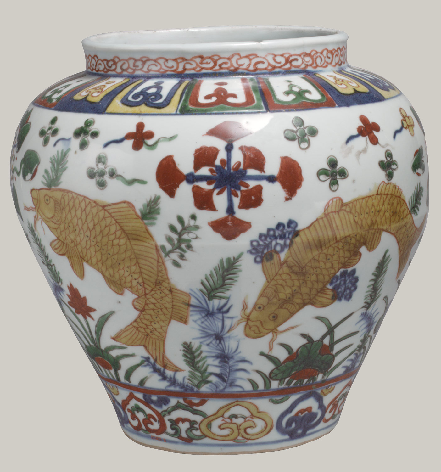 Jar with Carp in Lotus Pond