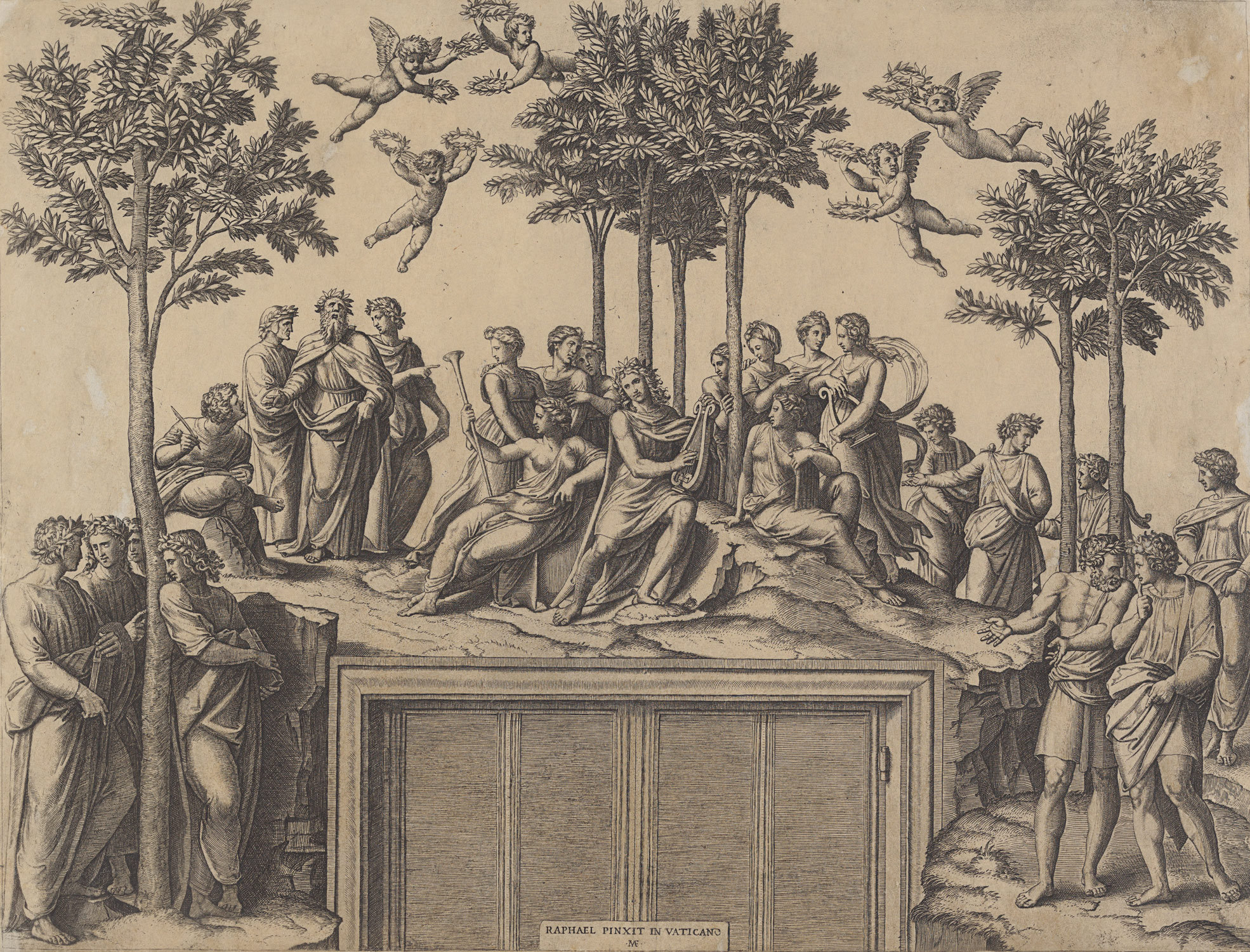 Apollo sitting on Parnassus surrounded by the muses and famous poets