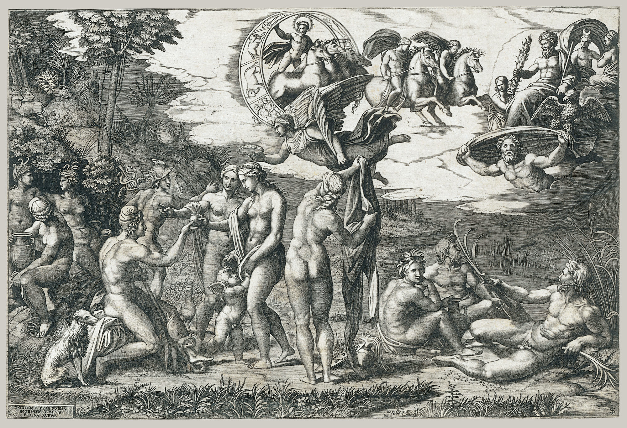 The Judgment of Paris; he is sitting at left with Venus, Juno and Pallas Athena, a winged victory above; in the upper section the Sun in his chariot preceeded by Castor and Pollux on horseback; at lower right two river gods and a naiad above whom Jupiter, an eagle, Ganymede, Diana and another Goddess