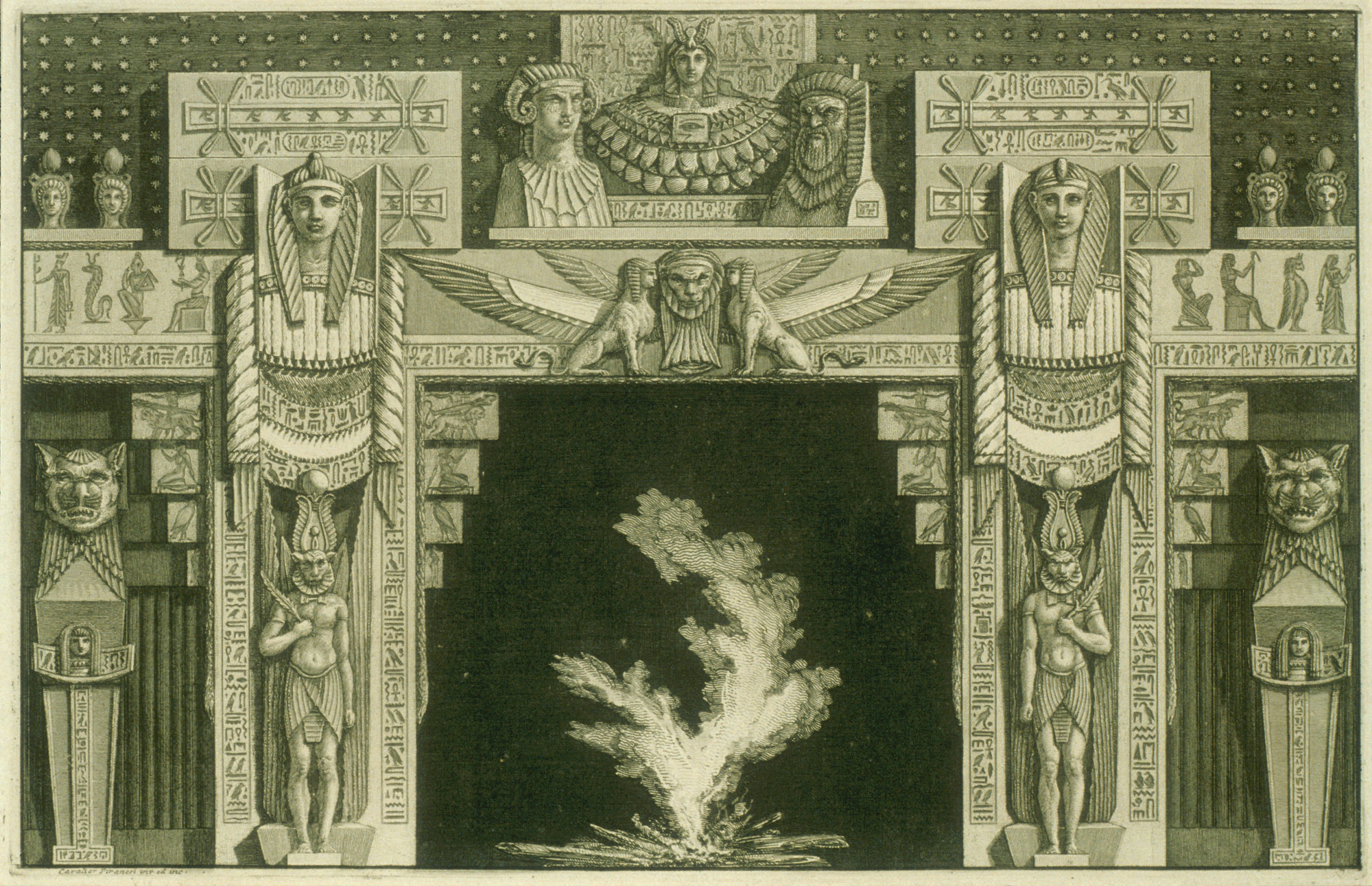 Chimneypiece in the Egyptian style, from Diverse Maniere dadornare i cammini (...) (Different Ways of ornamenting chimneypieces and all other parts of houses)
