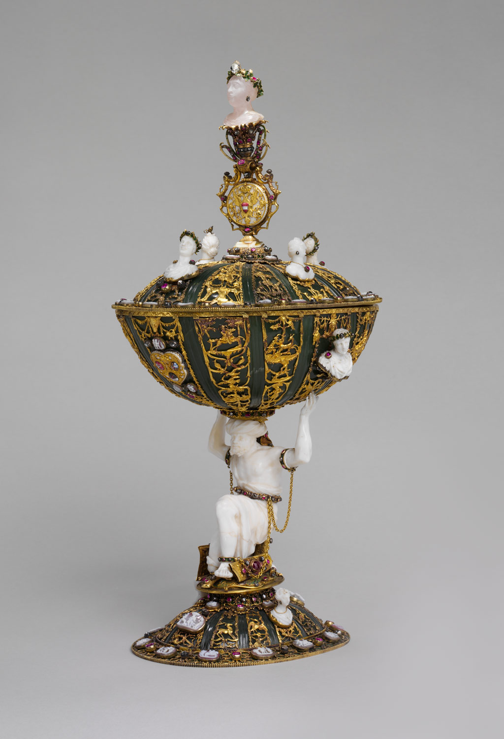 Standing Cup and Cover Supported by an Enchained Turk