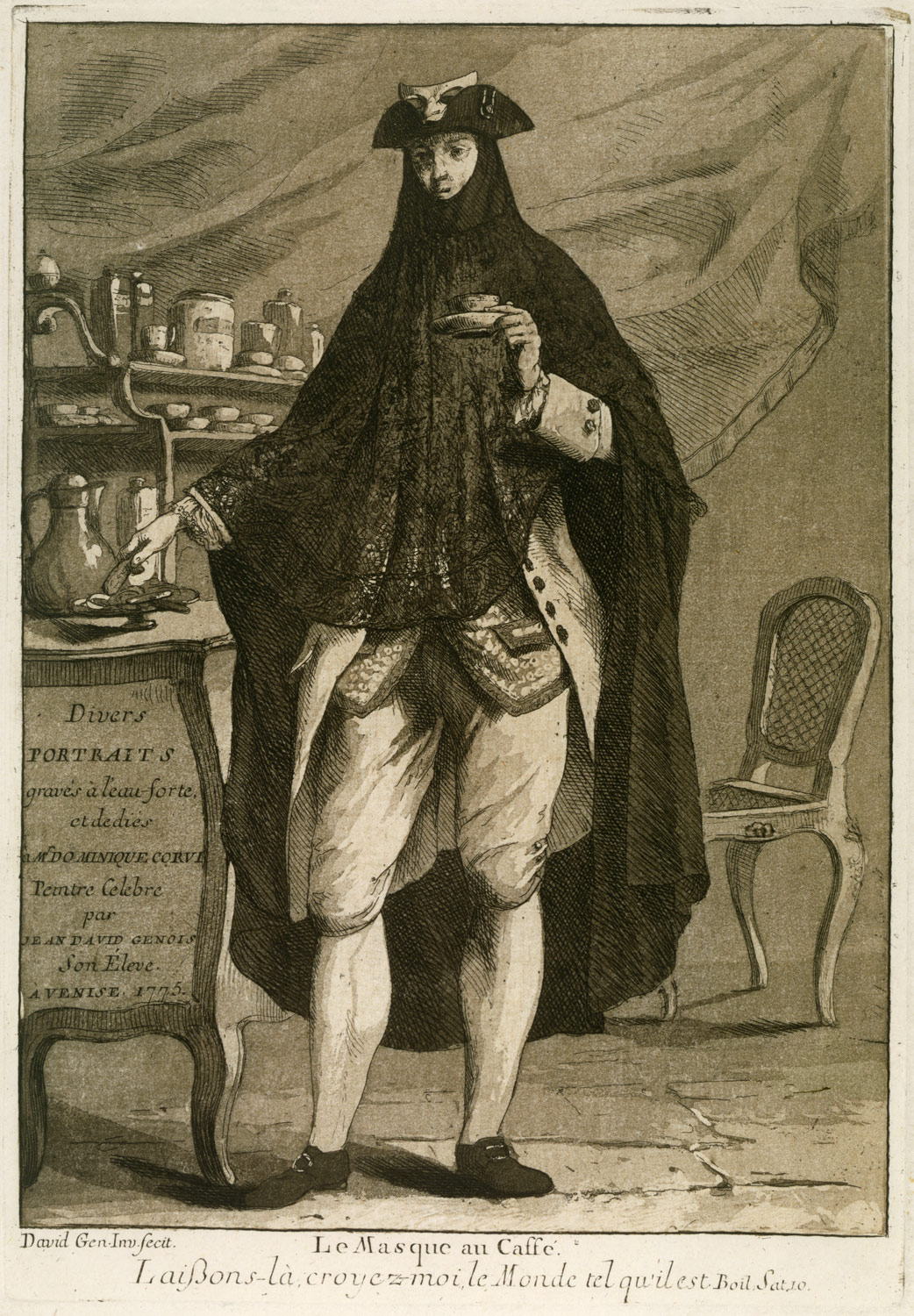 A man wearing a mask drinking a cup of coffee (Le Masque au Caffé), Title page to Divers Portraits