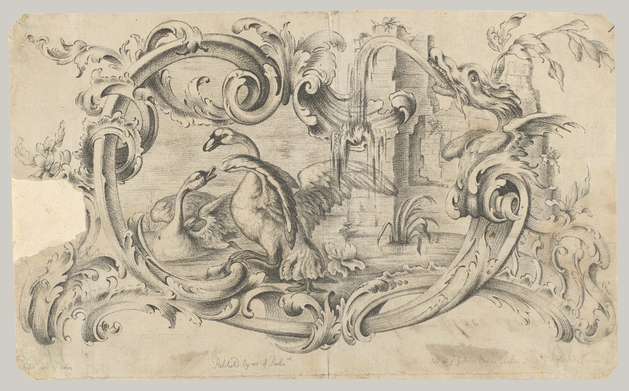 Design for a Tablet for a Chimney-Piece with Two Swans in Combat, Enclosed within a Scrolling Cartouche with a Water-Spouting Dragons Head