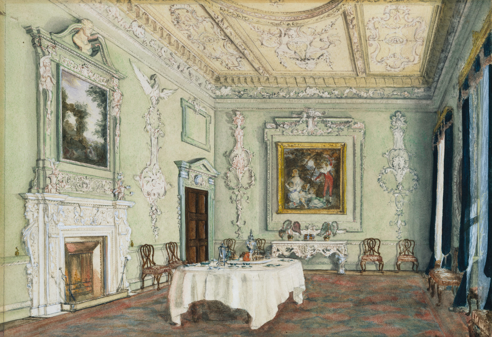 Kirtlington Park Oxfordshire View Of The Dining Room
