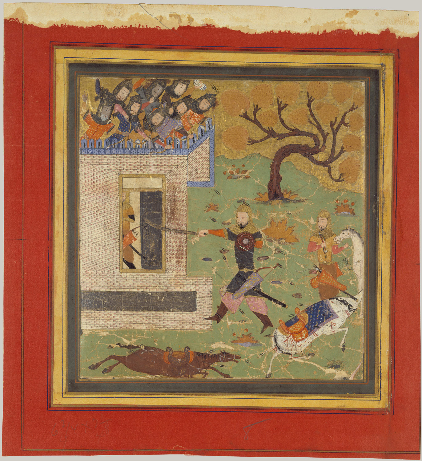 Bizhan Forces Farud to Retreat into his Fort, Folio from a Shahnama (Book of Kings)