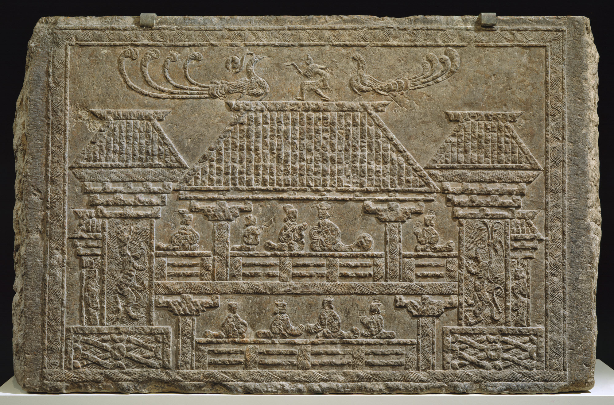 Tomb Panel with Relief of Figures in a Pavilion