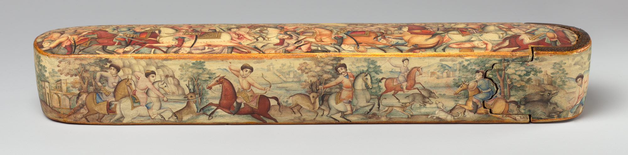 Pen Box (Qalamdan) Depicting Shah Ismail in a Battle against the Uzbeks