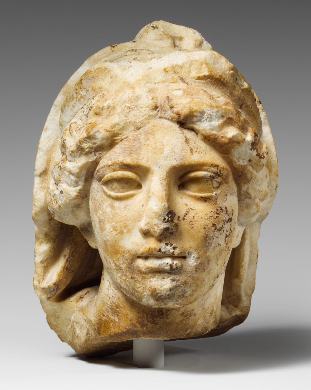 Marble Head Of A Woman Wearing Diadem And Veil Work Of