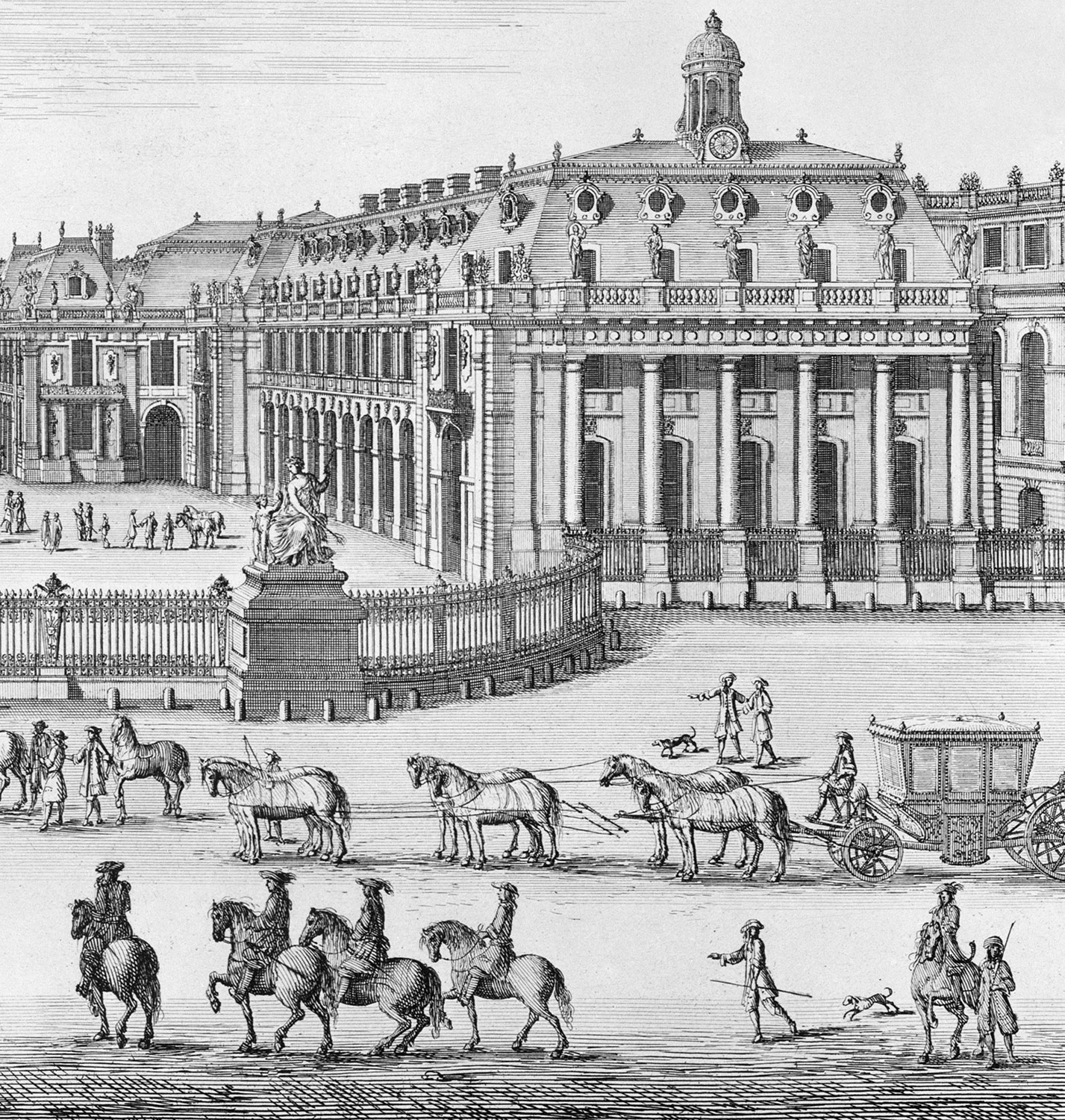 Château de Versailles seen from the forecourt, from Chalcographie du Louvre, Vol. 22