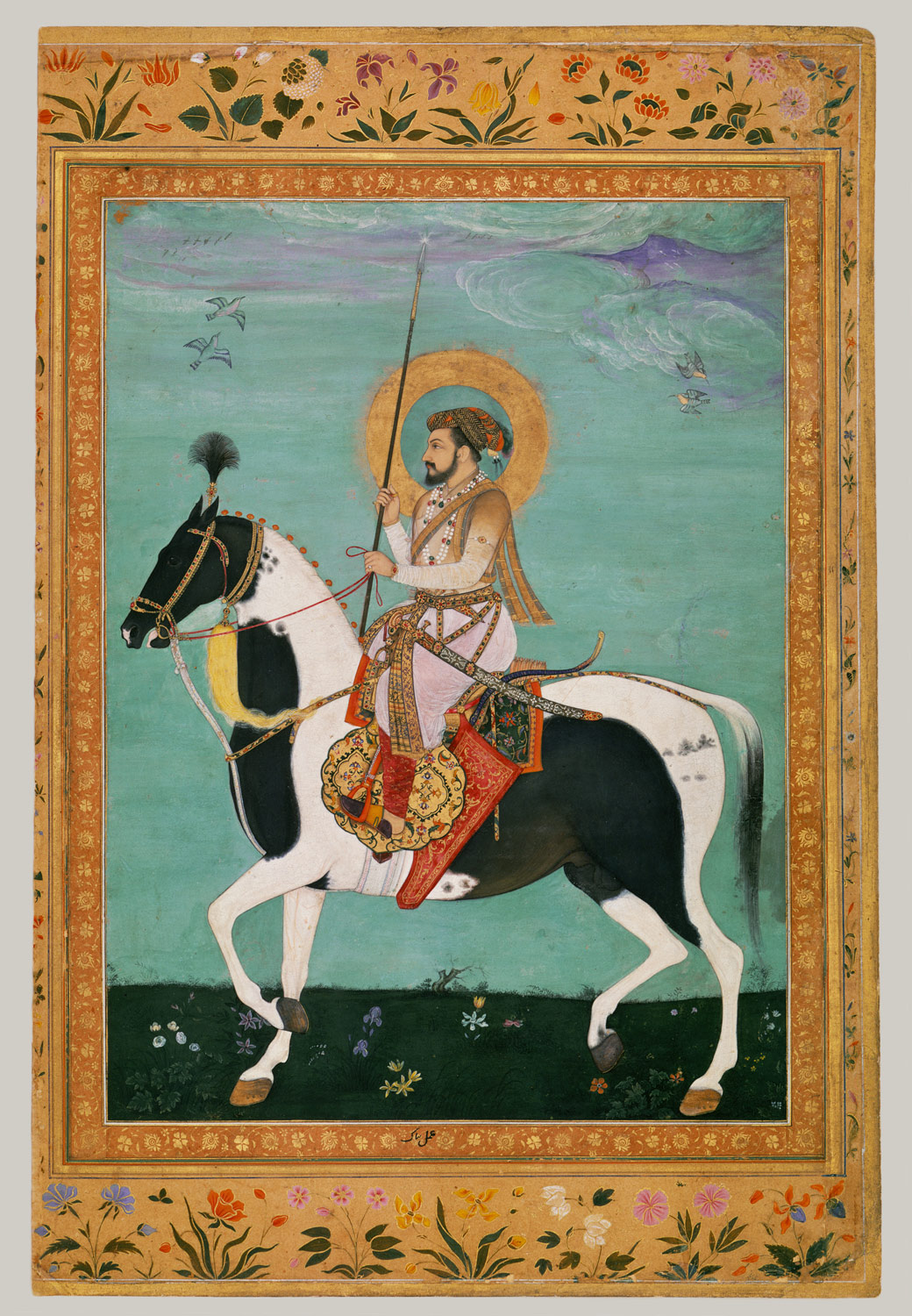 Shah Jahan on Horseback, Folio from the Shah Jahan Album