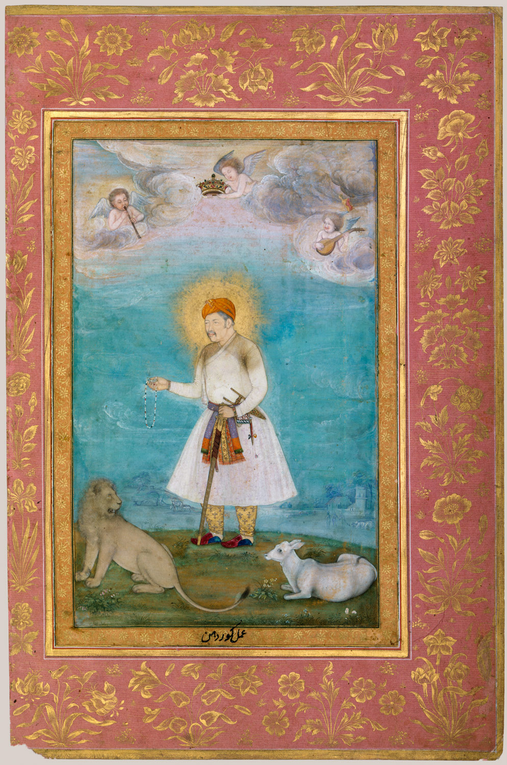 Akbar With Lion and Calf, Folio from the Shah Jahan Album