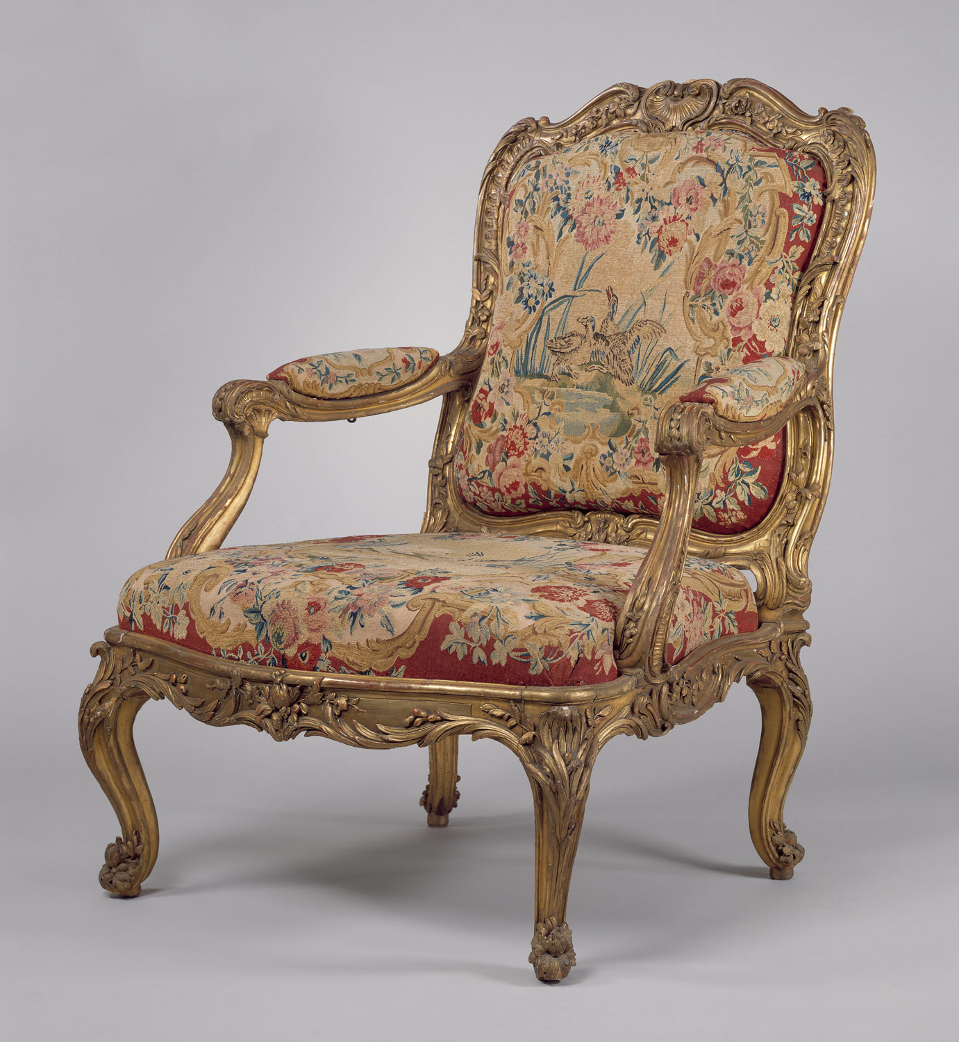 French baroque furniture -  Armchair Fauteuil La Reine Part Of A Set