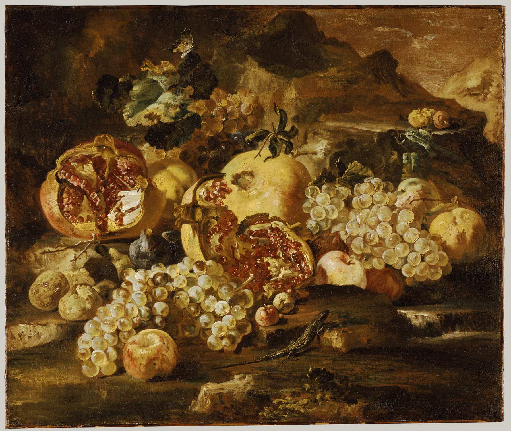 Pomegranates and Other Fruit in a Landscape
