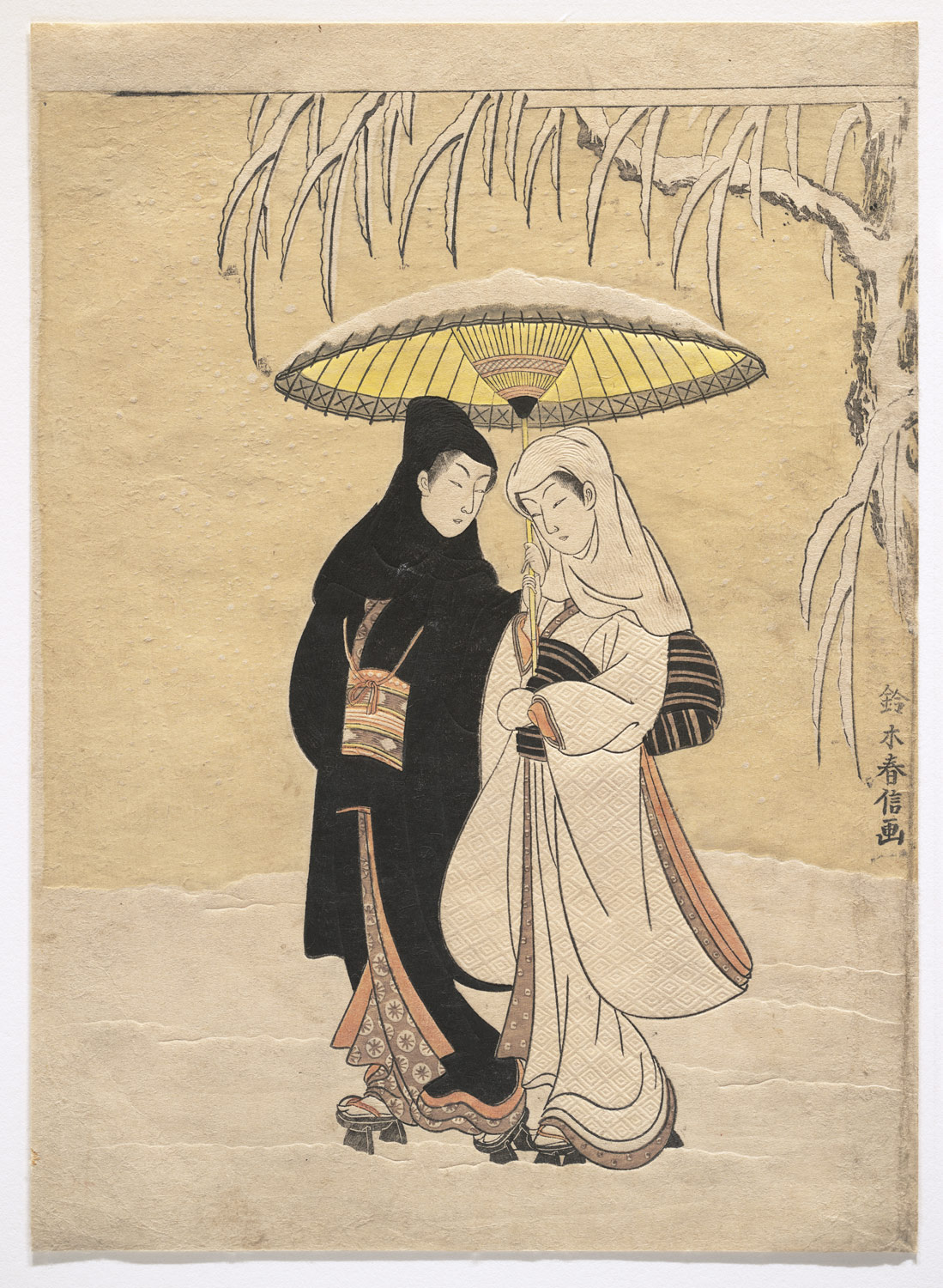 Lovers Walking in the Snow (Crow and Heron)