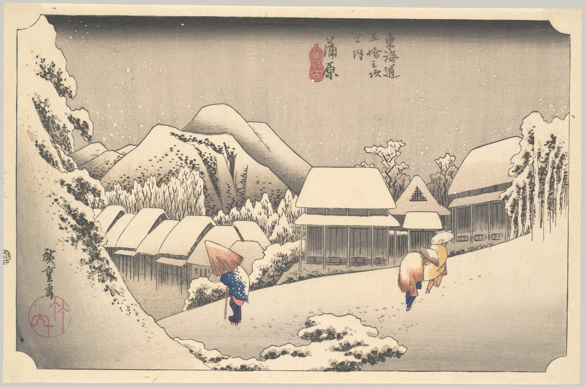 Evening Snow at Kanbara, from the series Fifty-three Stations of the Tōkaidō