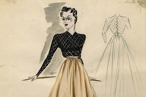 Two sketches: On the left, a sketch of a woman with short, black curled hair, wearing a form-fitting black blouse tucked into a flared beige skirt with a narrow waist; on the right, a light pencil sketch of the back of the ensemble
