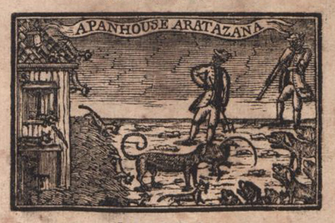 "A woodblock print in black and white of a house on the shoreline with two men and a dog scouring tidepools; above them float the words: ""A PanhouseAratazana"" in a banner"