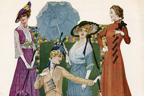 A colorful drawing of four early twentieth century women in various dress styles