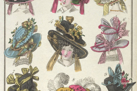 A colored print showing nine Victorian womans' hats