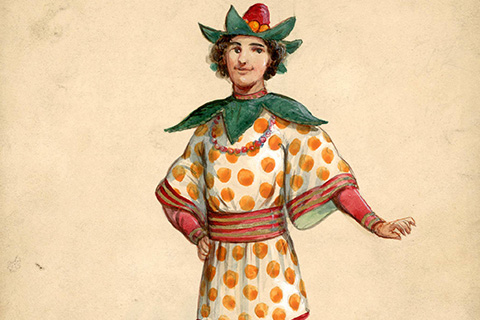 A colorful print of a young man wearing a costume with wide sleeves and yellow polka dots; the green collar is shaped like leaves and he wears a hat with green leaves topped by a small upside-down strawberry
