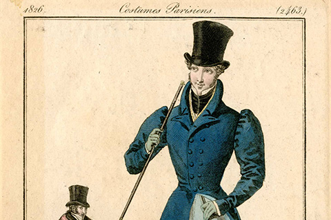 A colorful print of a nineteenth-century dandy dressed in a blue mutton-chop sleeved coat with a very narrow waist and a black top hat