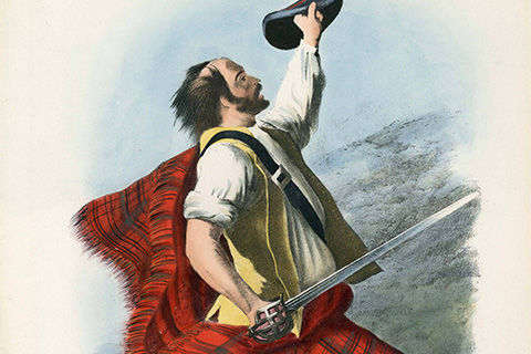 A colorful print of a man in a red plaid kilt and shawl, yellow vest, and white shirt with his hat in his left hand and a sword brandished in his right