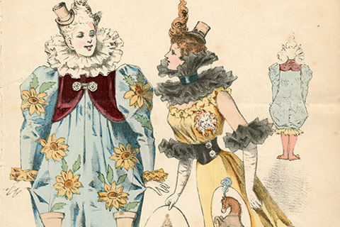 A colorful sketch of a two women as seen from the front; the figure on the left is dressed in a feminine clown costume with a large ruff, and the one on the right is dressed in a sleeveless gown with a narrow waist, high ruffled collar, and long white gloves with black ruffles at the elbows to match