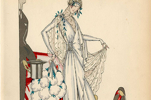 A colorful print of a bride dressed in a modern gown with classical elements