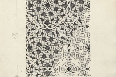 A pencil sketch of an intricate lacy geometric pattern