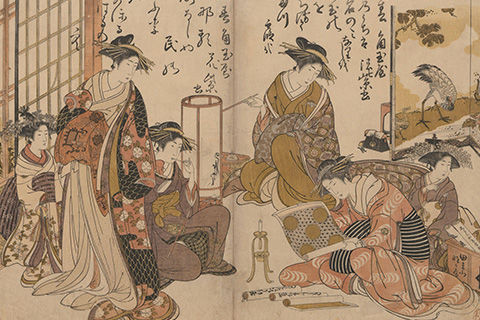 A page from a Japanese illustrated book showing an interior scene of a gathering of Japanese women