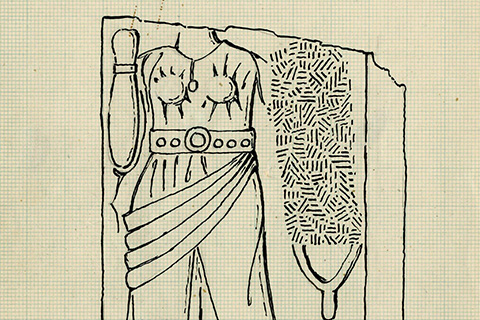 A black line drawing of a fragment of a relief sculpture of woman in draped clothing and cuneiform-like writing