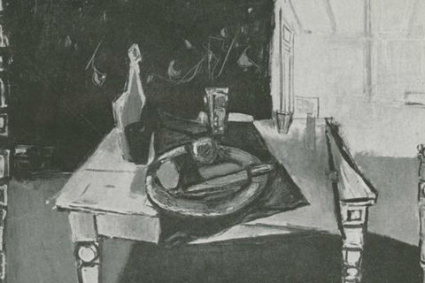 A black-and-white image of a Cezanne-like painting of a still life with a bottle, glass, plate, knife and place mat on a wood table