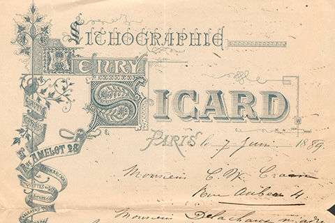 "A page with letterhead in elaborate varied type, which reads: ""Lithographic Henry Sicard Paris"" followed by the date in handwriting in black ink and illegible writing in the same hand"